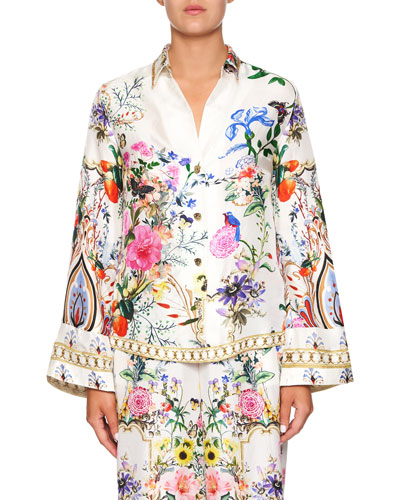Printed Silk Long-Sleeve Shirt with Contrast