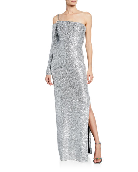 St. John Knitwear SEQUIN KNIT ONE-SHOULDER STATEMENT GOWN WITH CHAIN DETAIL