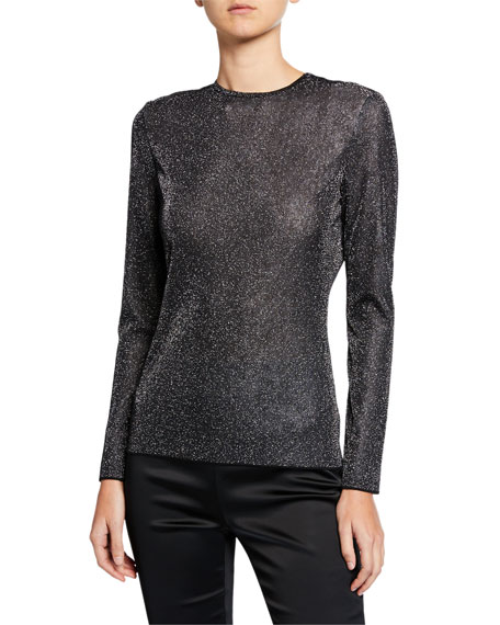 St. John Tops DIAMOND SPARKLE LONG-SLEEVE TOP