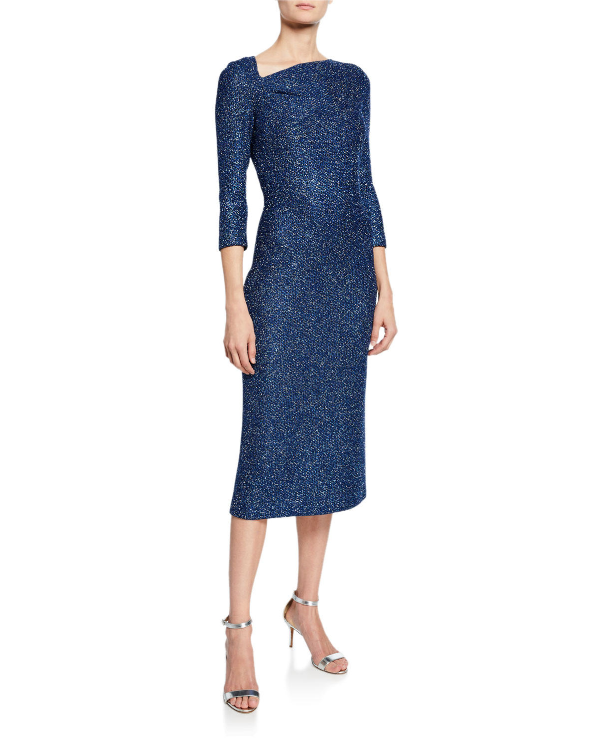 534b2babf44c St. John CollectionLuxe Sequin Asymmetric-Neck 3 4-Sleeve Tuck Knit Dress