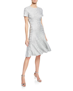 3c7359f6a17 St. John Collection Sequin Animal Jacquard Fit- -Flare Dress