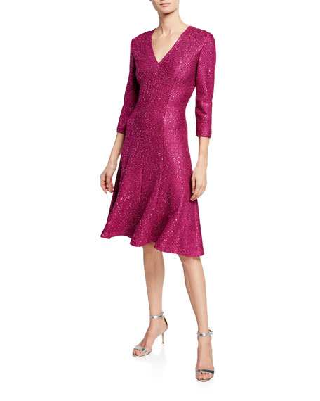Luxe Sequin V-Neck 3/4-Sleeve Tuck-Knit Dress