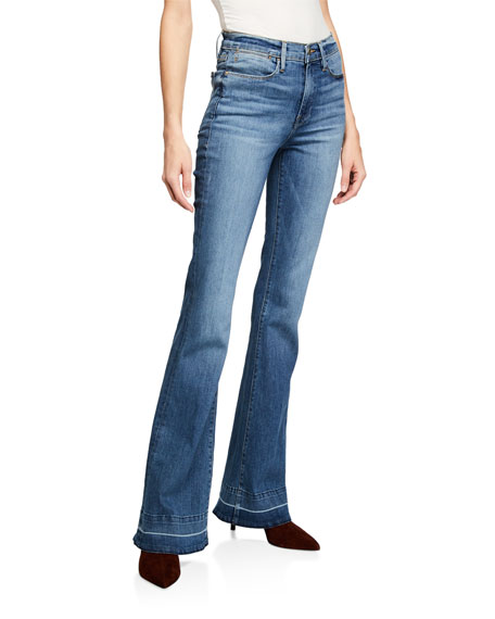 FRAME Le High Flare Wide-Leg Jeans w/ Released