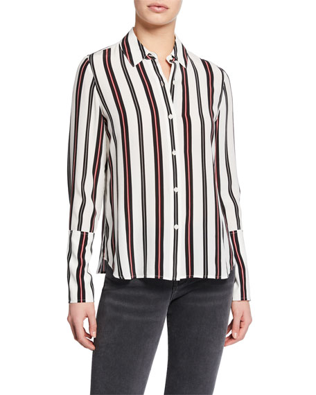 f56921f89b4bee Image 2 of 3  Striped Button-Front Cuffed Silk Blouse