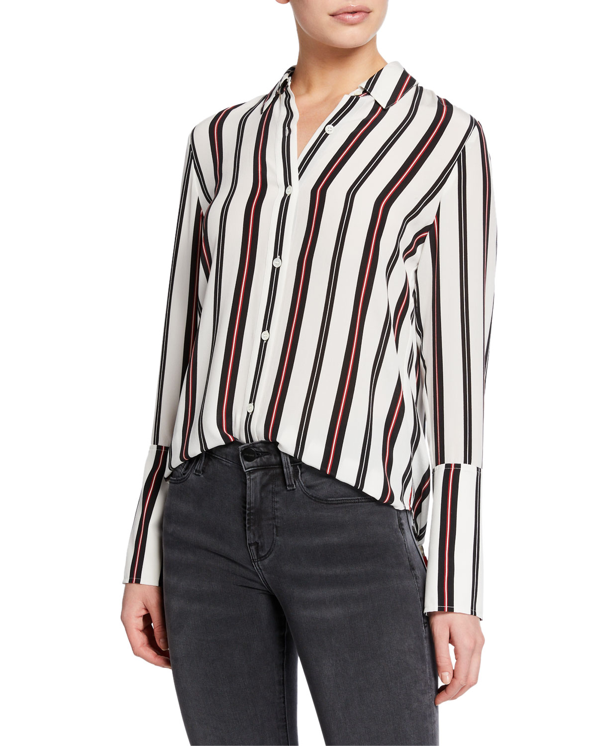 0d8fe4f11e0365 FRAME Striped Button-Front Cuffed Silk Blouse