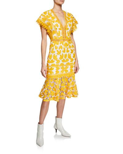 Mustard Lace V-Neck Midi Dress