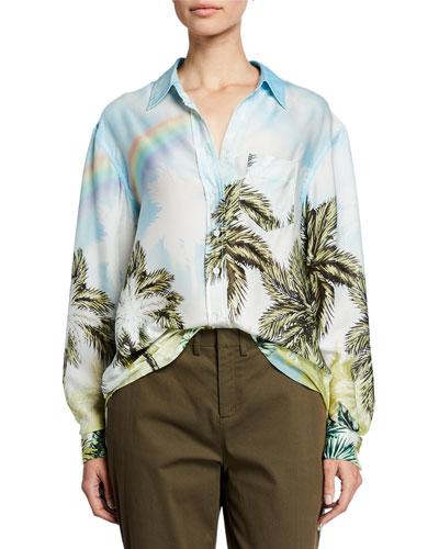 Future Ex Bf Palm Tree Button-Up Shirt