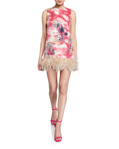 Night Hawaiian Sequin Dress w/ Feathers