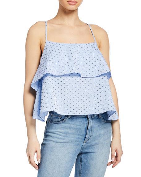 Dl Premium Denim  DOWNING ST DOTTED RUFFLE TANK