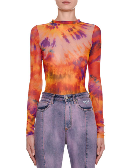 Msgm Tops TIE-DYE LONG-SLEEVE FITTED TOP