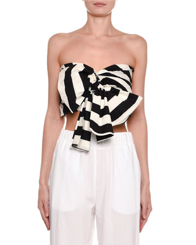 Striped Strapless Tie-Front Crop Top