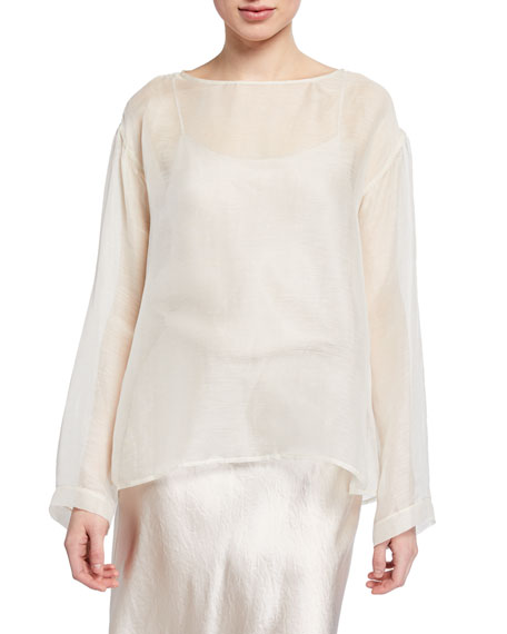 Forte Forte T-shirts SLUB SILK GAUZE BOAT-NECK SHIRT