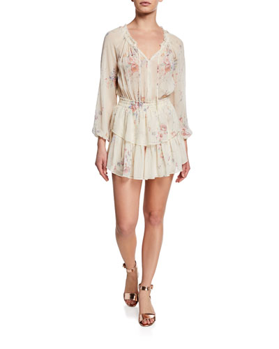 Floral Silk Popover Dress