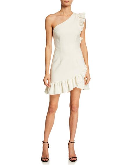 Cinq À Sept Dresses SOLEIL ONE-SHOULDER RUFFLE COCKTAIL DRESS