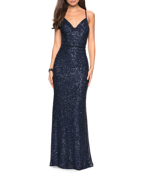 Sleeveless Ruched Sequin Gown with Open Strappy-Back