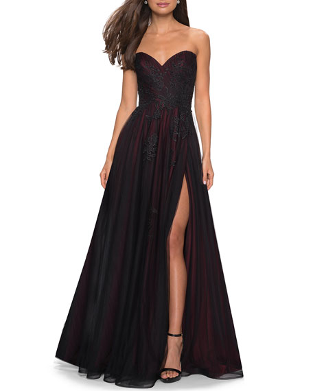 La Femme SWEETHEART STRAPLESS TULLE GOWN WITH FLORAL APPLIQUE & THIGH-SLIT