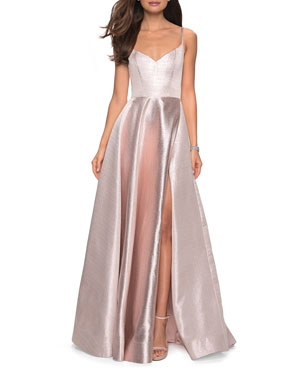 f49b567d087 La Femme Metallic Sweetheart Sleeveless Ball Gown with High Slit