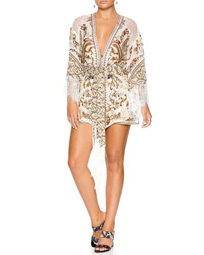 Printed Silk Kimono w/ Lace