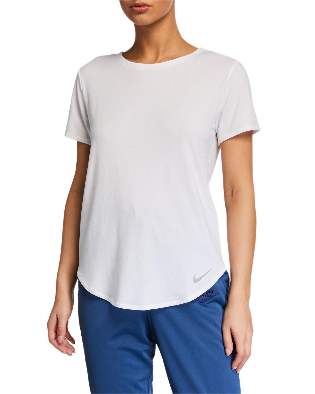 Nike Crewneck Short-Sleeve Twist-Back Top