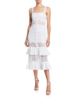 4cf5bb73ee Alexis Lyssa Silk Tiered Ruffle Lace Midi Dress