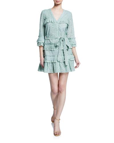 Audrea Eyelet Ruffle Short Dress