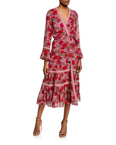 Marcas Floral-Print Wrap Dress