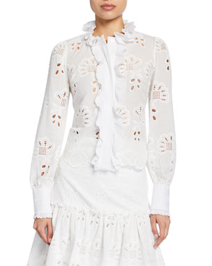 7f0b4d8495 Alexis Banha Long-Sleeve Button-Down Eyelet Ruffle Top