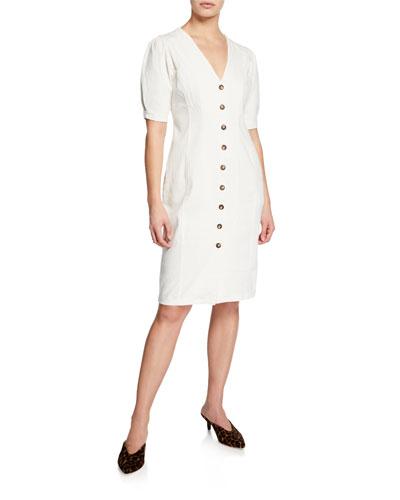 Logan Button-Front Short-Sleeve Dress