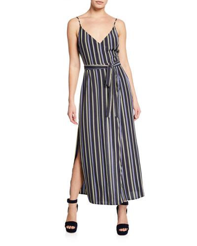 Frances Striped V-Neck Sleeveless Maxi Dress