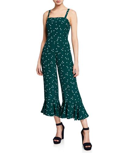 Lea Polka-Dot Sleeveless Cropped Ruffle Jumpsuit