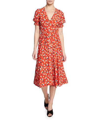Ari Floral-Print V-Neck Short-Sleeve Midi Dress