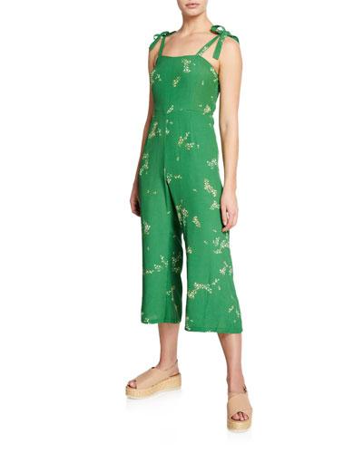 Elsa Floral-Print Sleeveless Crop Jumpsuit