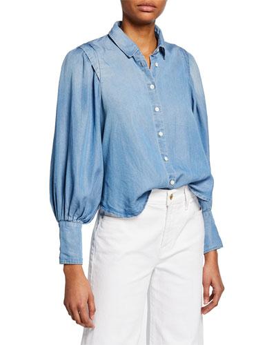 Bishop-Sleeve Button-Down Cinched Denim Shirt