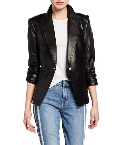 Havana Single-Button Leather Jacket