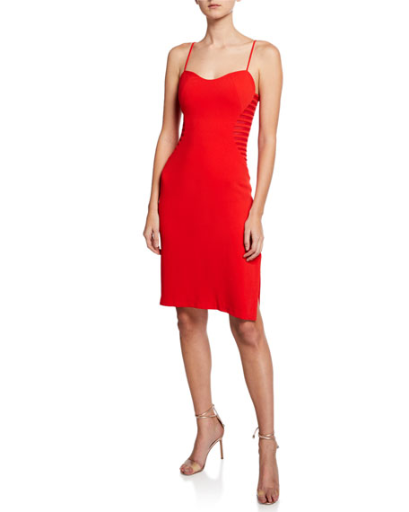 Halston Heritage Sleeveless Crepe Dress with Side Strips