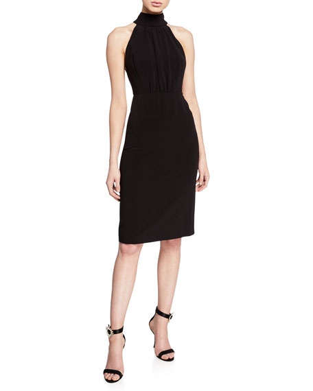Halston Heritage Mock-Neck Sleeveless Strappy-Back Dress