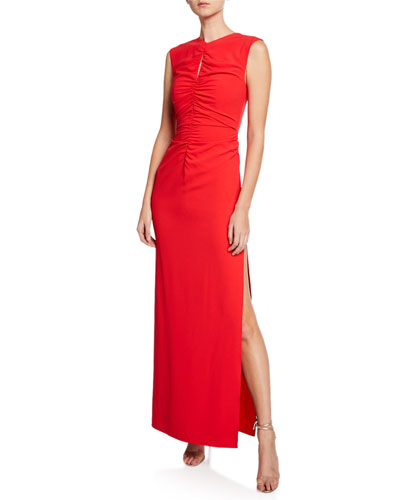 High-Neck Sleeveless Crepe Gown with Ruched Keyhole