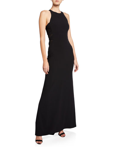 Sleeveless High-Neck Crepe Gown with Side Twist Detail