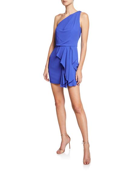 Halston Heritage One-Shoulder Drape-Front Mini Dress