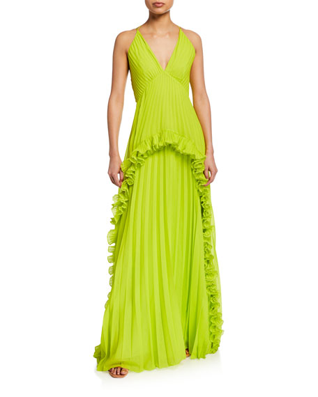 Halston Heritage Tops PLEATED HALTER GOWN WITH RUFFLED TRIM
