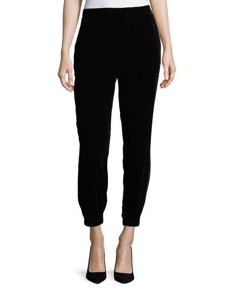 Slouchy Velvet Ankle Pants, Plus Size