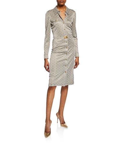 Gemini Link Button-Front Long-Sleeve Jacquard Dress