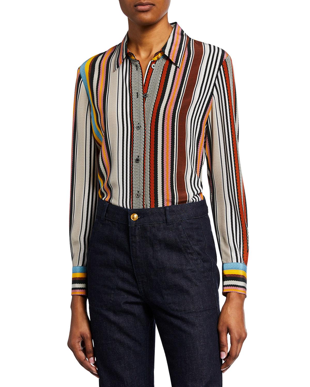 6a2b7e9460123 Tory Burch Striped Button-Down Long-Sleeve Silk Shirt