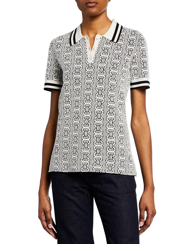 e65970441df9 Tory Burch Gemini Link Short-Sleeve Polo Sweater