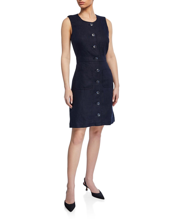 3103299944c Tory Burch Button-Front Sleeveless Linen Shift Dress