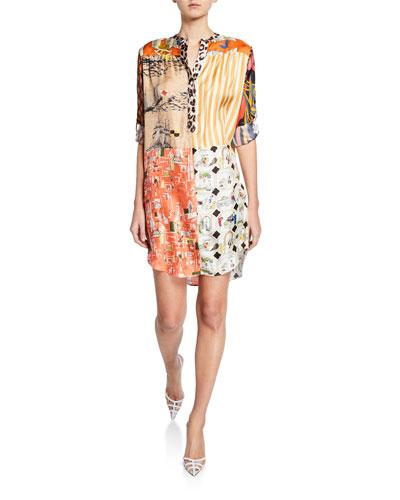 Madame Mix Calendar-Print Button-Placket Silk Twill Dress