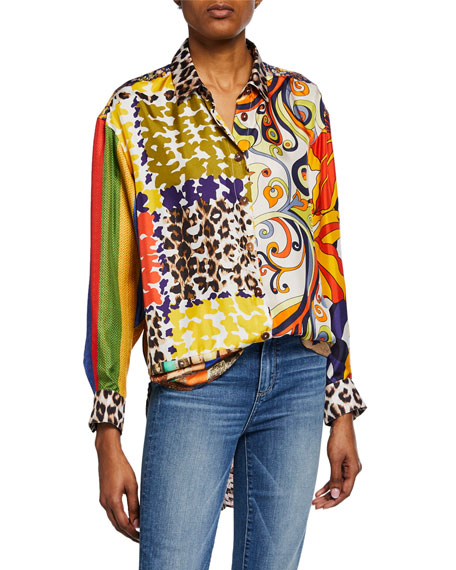 La Prestic Ouiston  LIQUETTE MIXED PANTHERE BUTTON-FRONT SHIRT