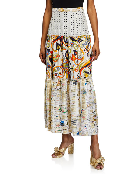 La Prestic Ouiston  ELIZABETH TEXTOS TIERED MIX PRINT SKIRT