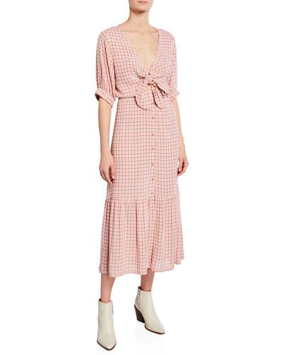 Maple Check Tie-Front Midi Dress