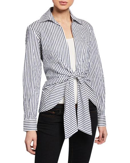 Finley Spectator Stripe Tie Front Top